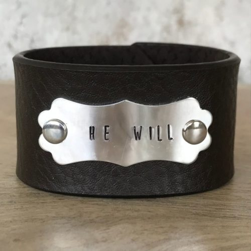 He Will Leather Cuff